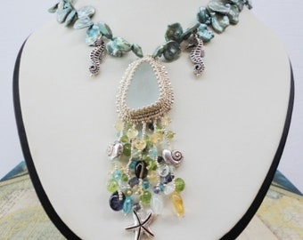 beadwork necklace, seaglass necklace, Keishi Pearls, Freshwater Pearls, multi stone necklace silver, seaglass jewelry, silver beach necklace