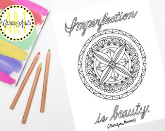 Printable Adult Coloring Book Page, Imperfection is Beauty, Marilyn Monroe Quote, Instant Download, DIY Wall Art,Hand-Drawn ,Digital Inspire