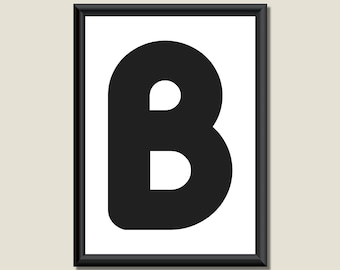 Typography DIGITAL PRINT Monogram Initial Wall Art Zarista Letter B 5x7