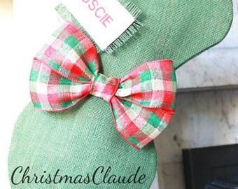 CHRISTMAS STOCKING, PERSONALIZED Christmas stocking, Pet Stocking, Green Stocking, Stocking for Pet Lovers, Plaid Burlap Rustic Stocking