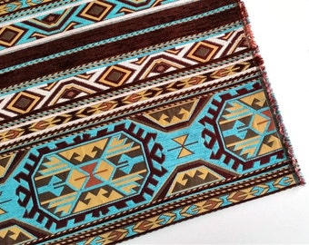 Ethnic Tribal Style Chenille Upholstery Fabric, Aztec Navajo Fabric, Geometric Design Kilim Fabric, Turquoise-Gold, Ach-033