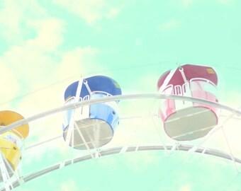 Photo Print - Ferris Wheel, Cotton Candy, Carnival, Town Fair, Children's Decor