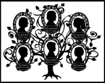 Custom Family Tree with 6 Silhouettes