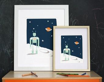 Nursery Art Print - Robot in Space