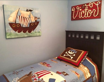"""PIRATE DECOR ~ 32"""" Rope Name Sign ~Nautical Style ~ Cottage Decor ~ Beach House Sign~ Lake House Wall Art - Pirate Room ~Red Finish~ VICTOR"""