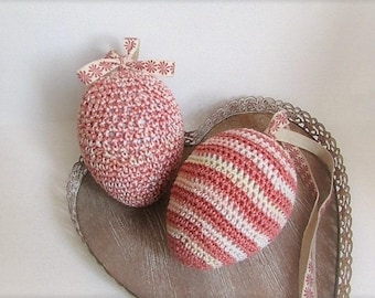 This Easter! set of 2 pastel pink crochet Easter eggs hanging