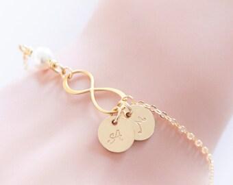 Gold Infinity Bracelet, Initial Bracelet, Bridesmaid Bracelet, Friendship Jewelry, Personalized, Wedding Bracelet, Wedding Gift, Bridesmaid