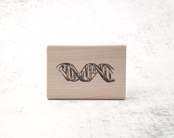 The Double Helix DNA Stamp - Chemistry/Biology Stationary Rubber Stamp - Genetics and Vintage Science Stamp