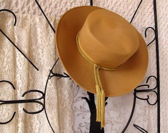Vintage Ladies Western Hat Glenover Wool Tan Gold Braid Fringe Tassels Cowgirl Cowboy Medium Free US Shipping