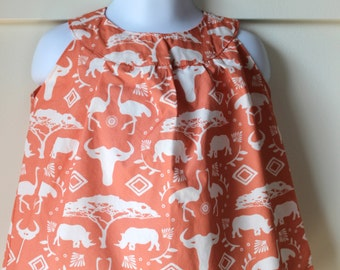 Coral Safari Print A Line Dress Size 12-18 months