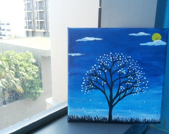 White Spring With Acrylic Painting On Canvas