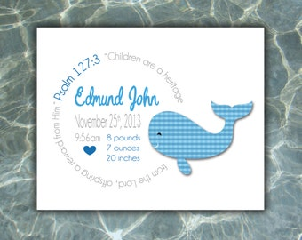 Whale, Nautical, Personalized Birth Print, Baby Birth Print, Custom Birth Print, Birth Announcement Boy, Girl, Gift, Baby Gift