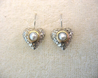 My Heart Belongs to You - silver earrings with pearl set in gold