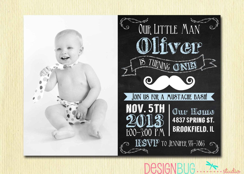 Little man birthday invitations
