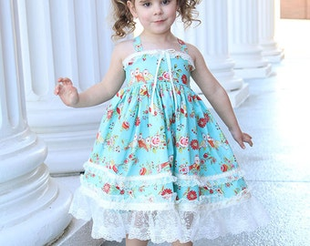 Easter dress, blue twirl dress, birthday girl dress, romantic dress, shabby dress with lace, chic floral bird dress, flower girl tea party