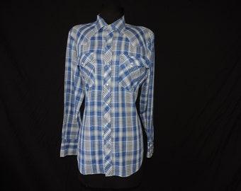 vintage plaid pearl snap shirt 70s navy metallic striped button down men's rockabilly shirt medium
