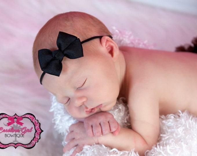 Black Newborn Headband - 2 in. Bitty Bow on an Elastic Headband - Girls Hair Bows - Baby Headband