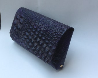 Sophisticated Purple Leather Clutch with Handstrap (veg tan leather)