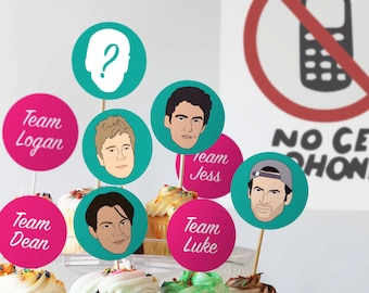 Gilmore Guys Cupcake Toppers Only // Gilmore Girls Viewing Party // Downloadable + Printable