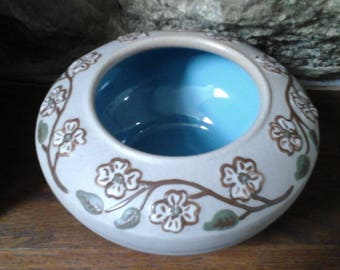 Pigeon Forge Pottery Tennessee Vase Bowl Dogwood Robins Egg Blue Glaze