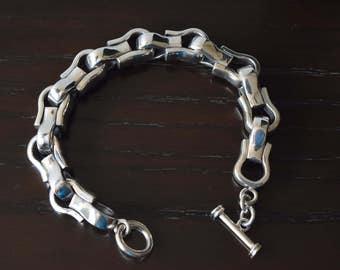 Mens 9.25 Heavy Sterling Silver polished Horseshoes Bracelet handmade.