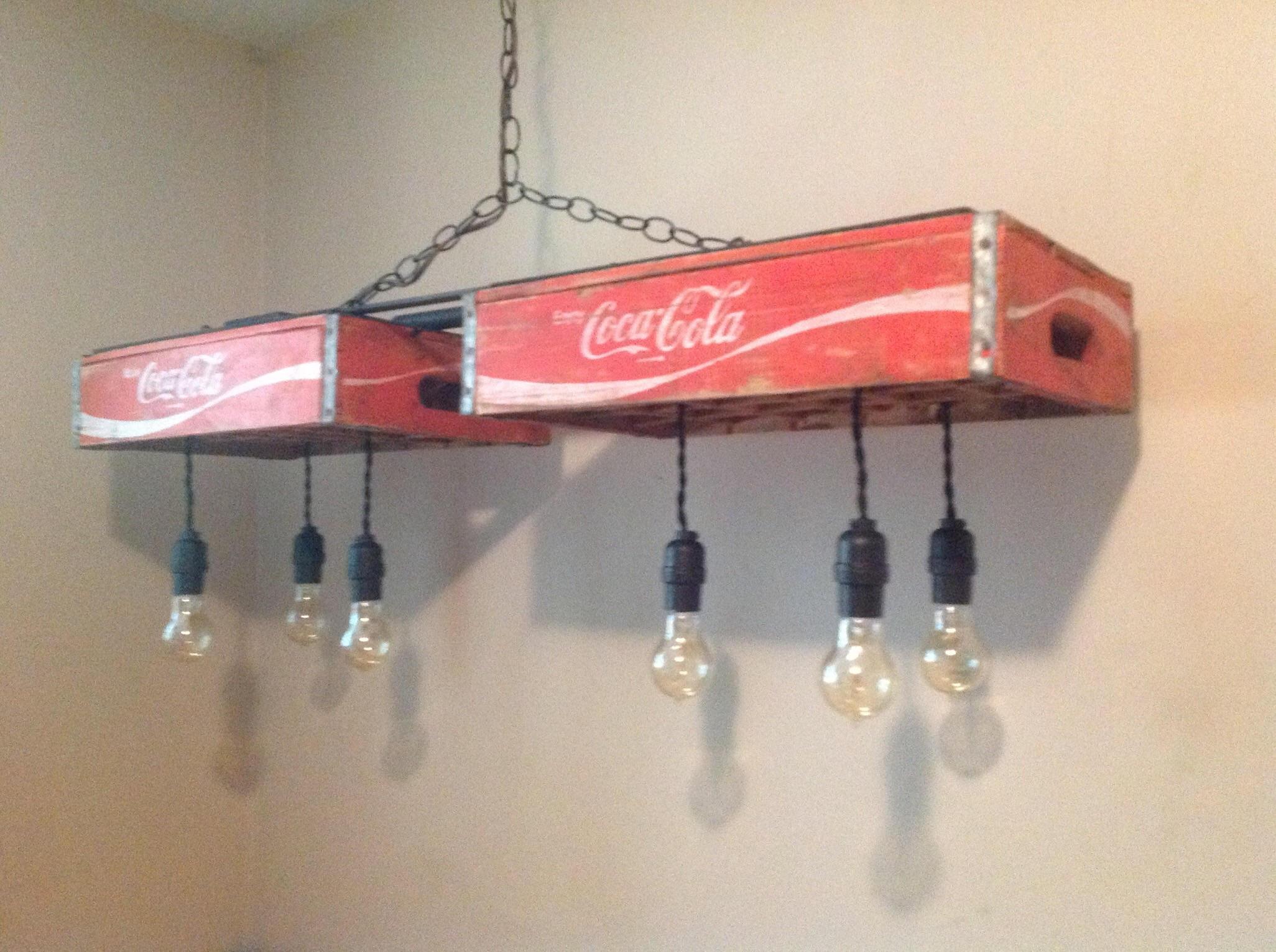 Vintage coca cola crate light chandelier zoom arubaitofo Image collections