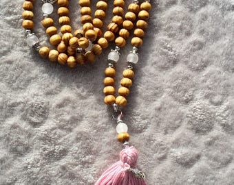 Rose Quartz and wood beads necklace