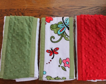 Set of 3 Matching Burp Cloths with Dragonfly Print Minky and Coordinating Red Dimple Dot Minky and Sage Dimple Dot Minky with Ribbon Edging