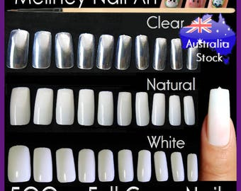 500pc Full Cover False Nail Tips Fingernail Manicure Acrylic gel DIY Clear white natural fake nails long press on nails