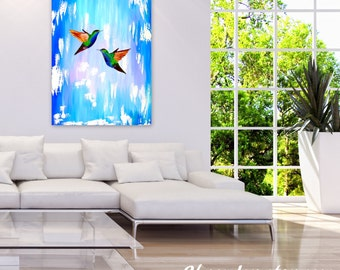 """large painting, turquoise painting, blue painting, vertical painting, on a canvas, with hummingbirds, with 2 birds, 2 hummingbirds, 36""""x 24"""""""