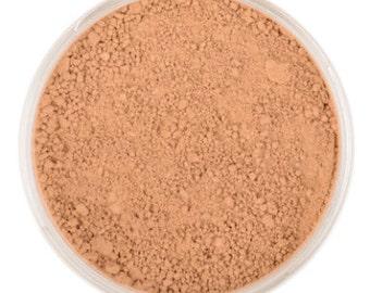Natural Mineral Foundation - Shade: Tan - 10g sifter jar (vegan, cruelty-free makeup, loose face powder, perfect for acne & sensitive skin)