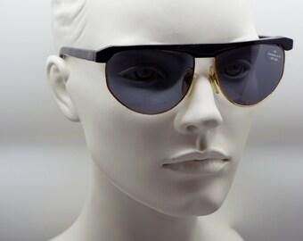 TRUSSARDI vintage black / gold 80s sunglasses shades new old stock