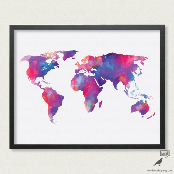 Watercolor world map up to 24x36 digital watercolor painting gumiabroncs Image collections