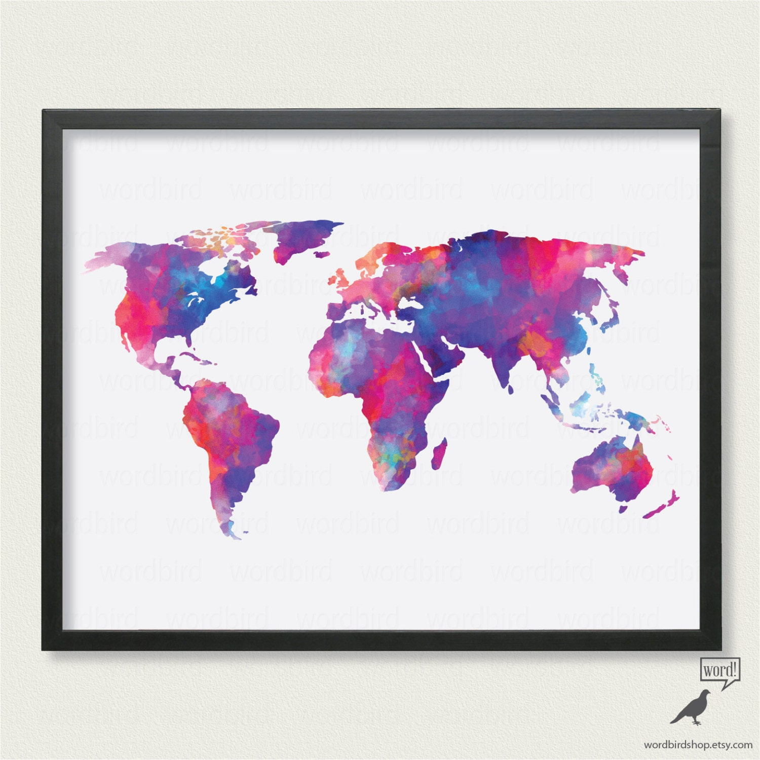 Watercolor world map up to 24x36 digital watercolor painting zoom gumiabroncs Choice Image