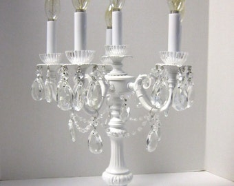 Candelabra 6 Light Chandelier Crystal Table Lamp, Canbelabra Centerpiece,  Dining Room, Mantle,