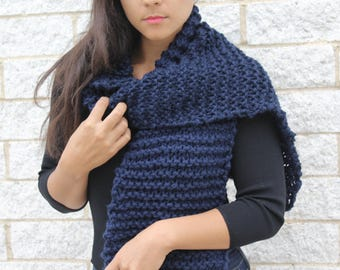 Chunky Knit wool Scarf- The Seoul scarf- Korean fashion, Dark navy  blue scarf, Knit wrap, Gift idea for her