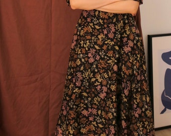 Blossom Dress-mockneck floral midi maxi dress with nipped waist and 3/4 sleeve