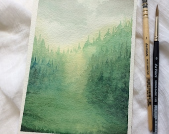 Green Forest, Original Watercolor Painting