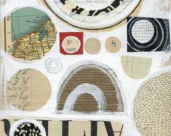 Galveston / ORIGINAL ART / mixed media collage / neutral / circles / vintage papers 6x6