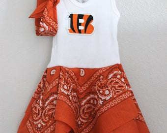 Cincinnati Bengals inspired baby dress, Bengals girls outfit, Bengals football baby shower gift, dress and headband set