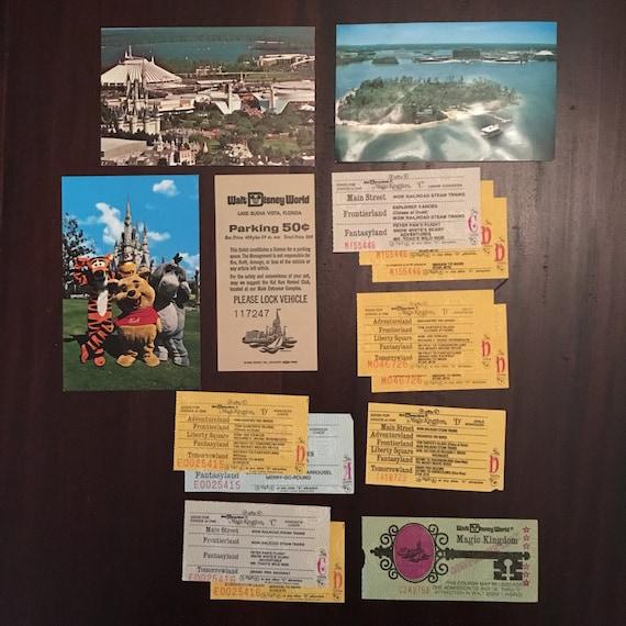 Vintage 1970s Walt Disney World Magic Kingdom Tickets