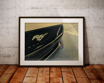 Mustang Wall Art, Car Canvas Art, Mustang Photo, Modern Home Decor, Car Photography, Canvas Wall Art, Office Decor, Closeup Photo
