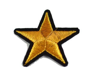 Gold Stars Shapes Embroidered Iron on Patch Applique GS010518