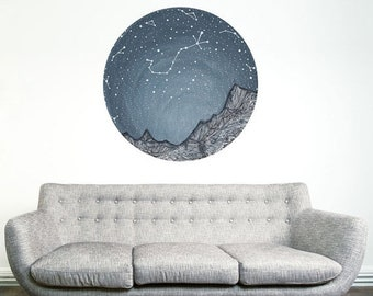 ON SALE Scorpio and the Blue Ridge Mountains Decal - Astronomy Art by Elise Mahan