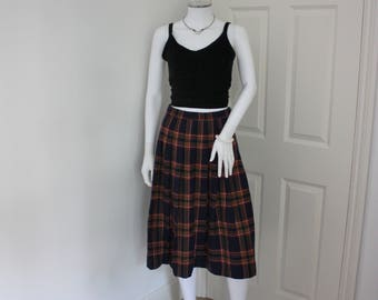 Plaid pleated skirt - tartan midi skirt - Scottish plaid - woolen - vintage tartan - preppy skirt
