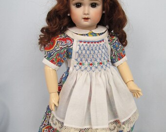 Blue, Red and Bright Paisley Smocked Apron Dress for Bleuette