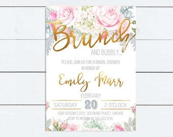 Wedding Shower Invitation Floral Bridal Shower Invitation Brunch and Bubbly Invitation Bridal Brunch Bridal Tea DIY Printable Gray Gold Pink