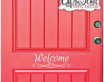 Welcome Front Door Vinyl Lettering Decal Sticker #D18