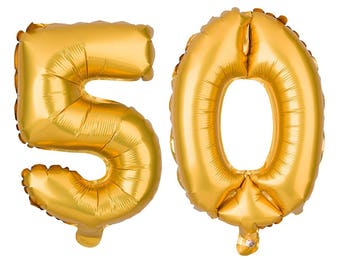 "50 Jumbo Balloon Numbers 34"" balloon set/ pick color gold, silver, rose gold , black"