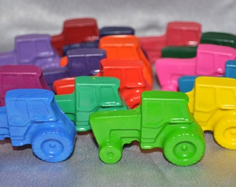 Tractors Recycled Crayons, Total of 15 Crayons.  Boy or Girl Kids Unique Party Favors, Crayons.  Adult Coloring